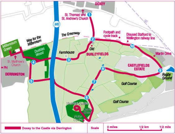 Doxey to Stafford Castle Doorstep Walk Map